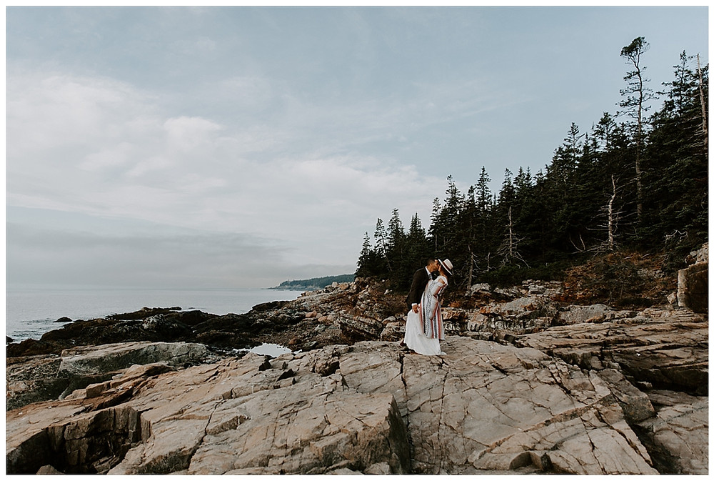 Adventure Elopement at Otter Cliffs, Acadia National Park, Maine