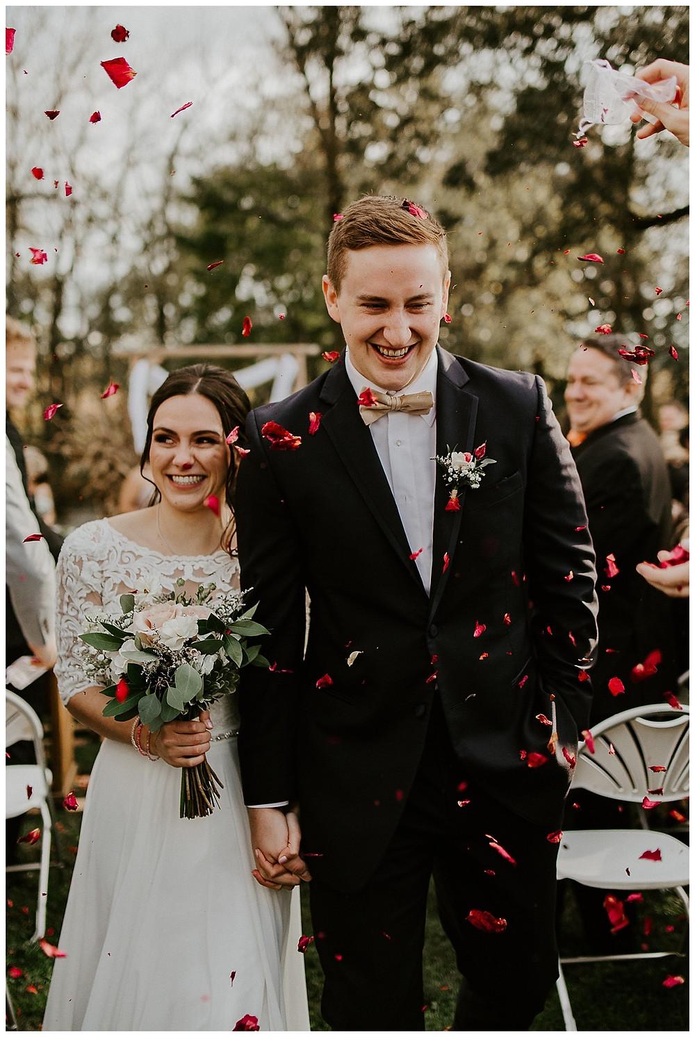 Fall Farm Wedding Ceremony Rose Petal Exit