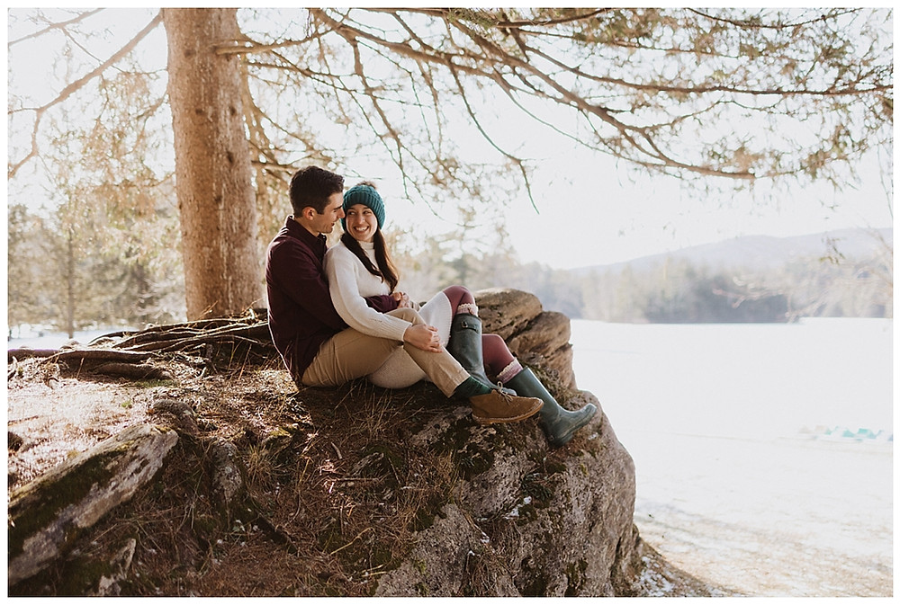 Couples Wooded Pre-Wedding Portraits in Vermont