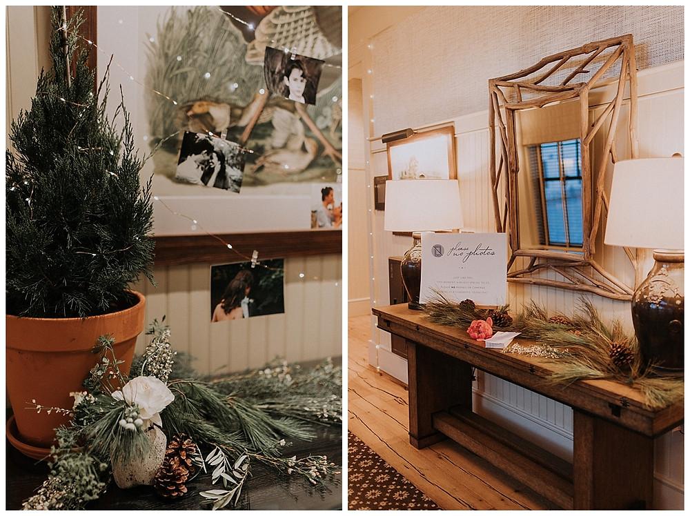 Fairy Lights, Pine Cones, Pine Needle Winter Wedding Decor