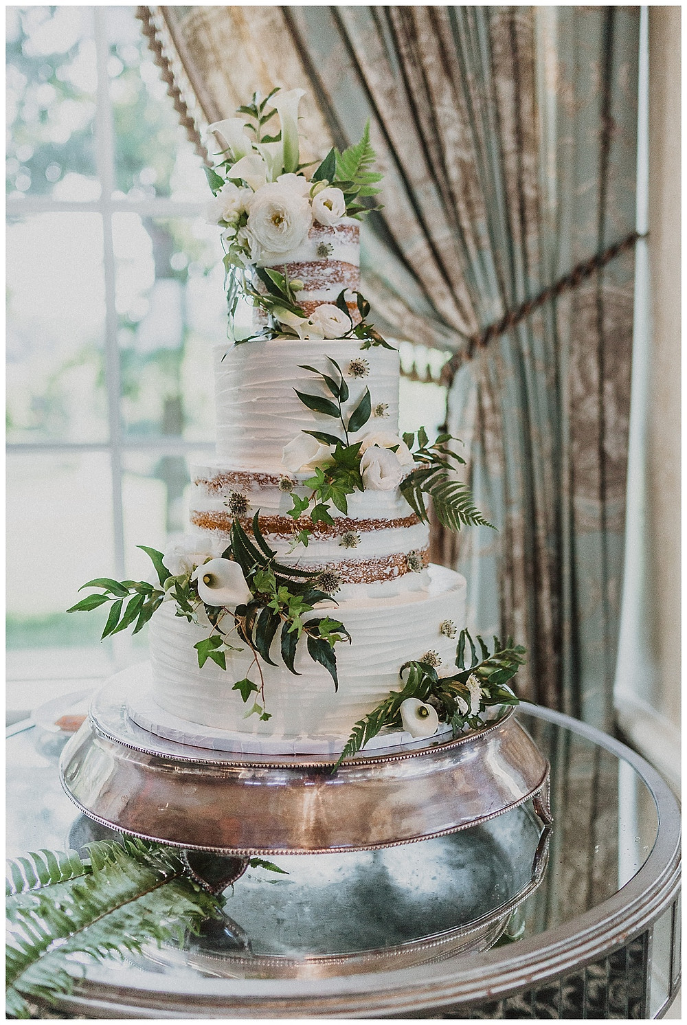 Simple White Wedding Cake with Greenery & Roses