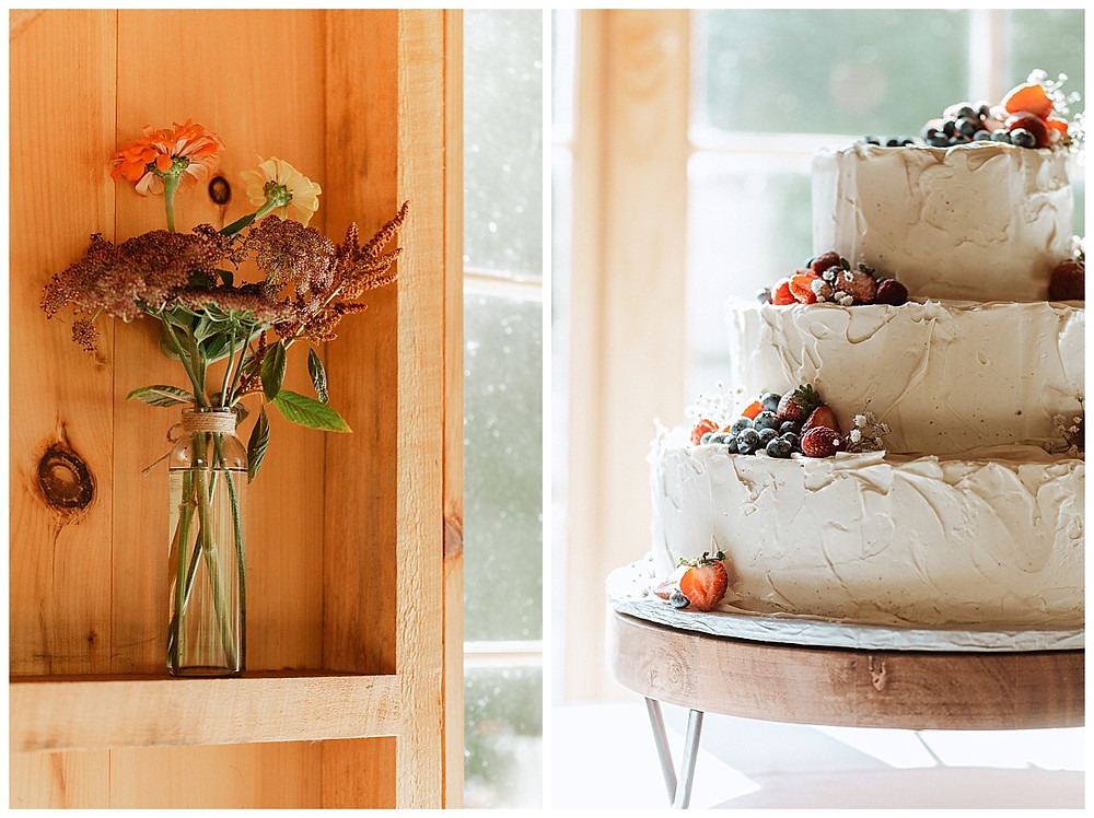Simple White Wedding Cake with Berries