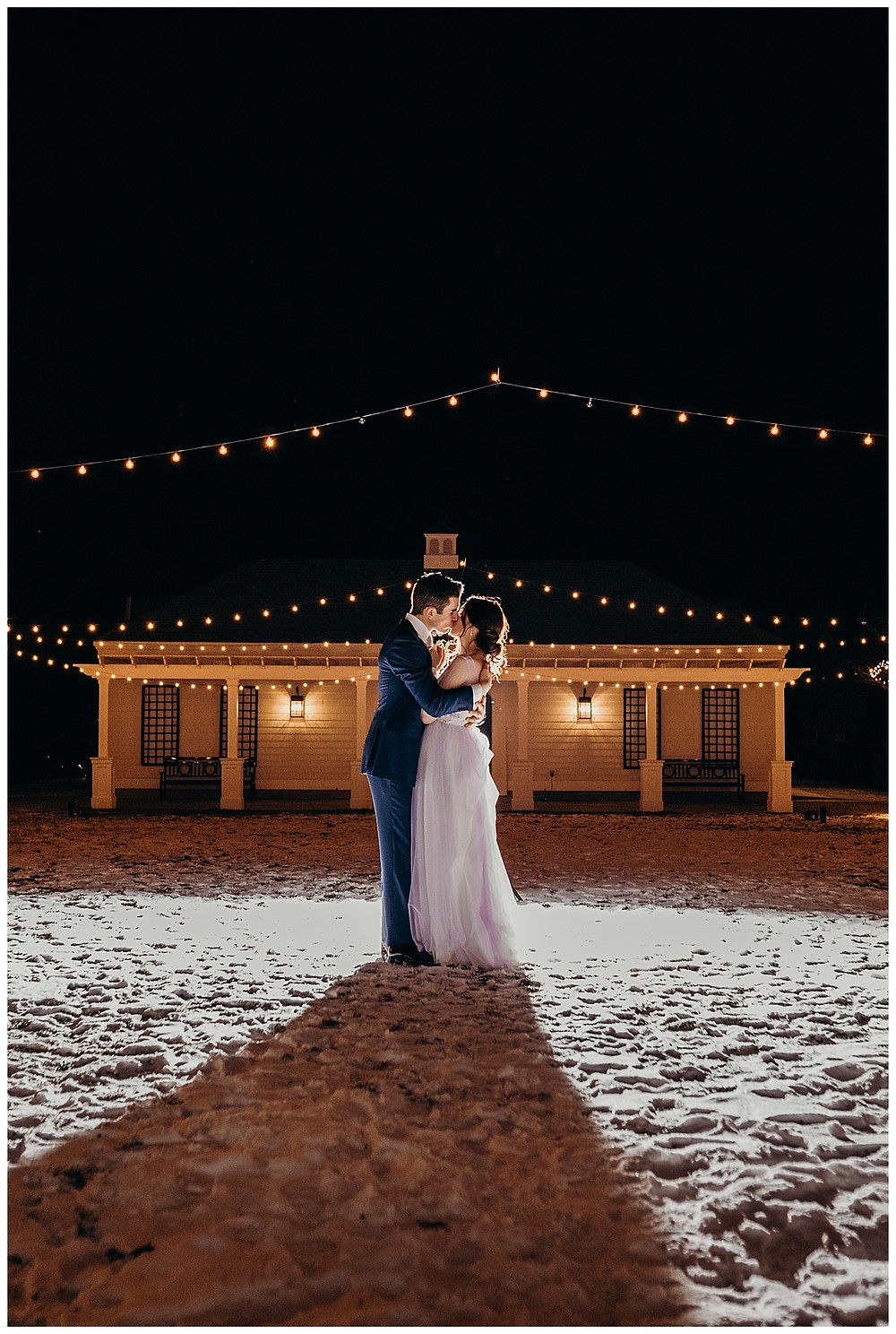 Night Time String Lit Bride & Groom Portraits