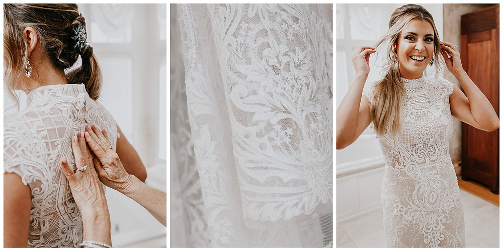 Boho Delicate Lace and Beaded Form Fitting Wedding Dress with Cap Sleeves