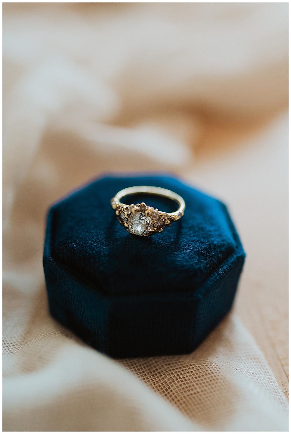 Light Blue Vintage Wedding Ring with Navy Velvet Ring Box