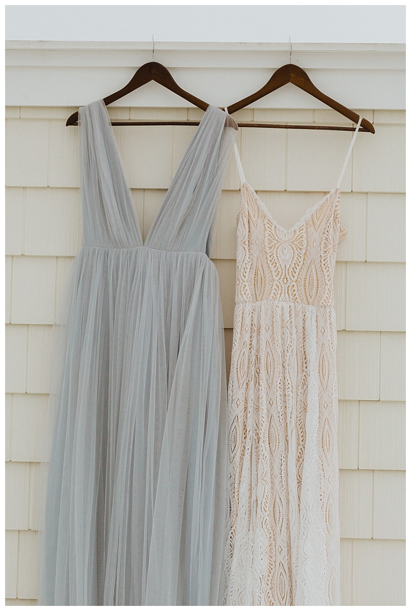 Lace Wedding Dress and Light Blue Tulle Bridesmaid Dress