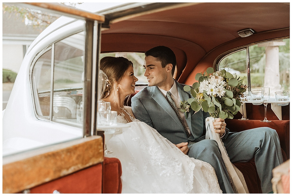 Vintage Bride and Groom Portraits in Car