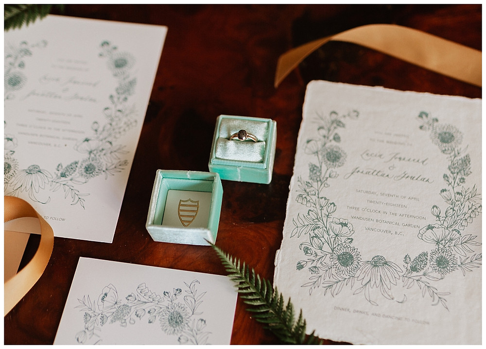 Vintage Wedding Stationary and Grey Wedding Ring