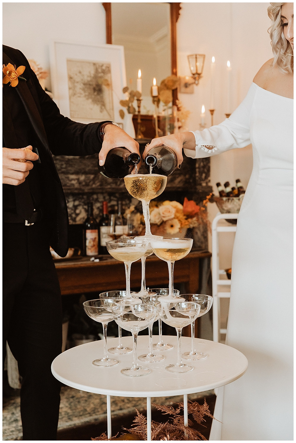 Bride and Groom Champagne Tower