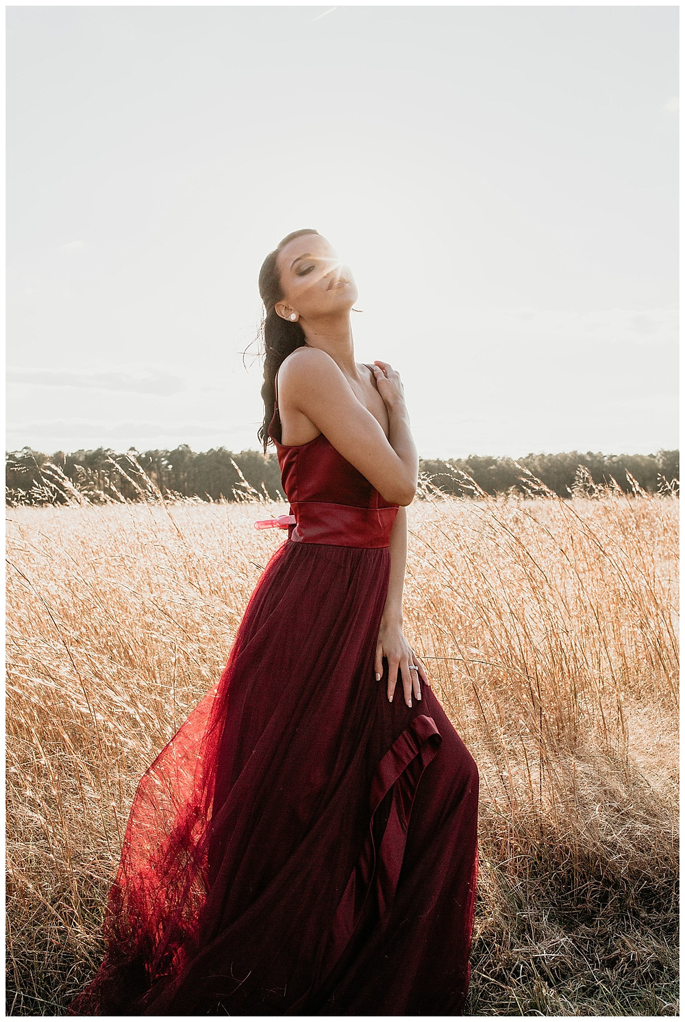 Red A-line Satin and Tulle Bridesmaid Dress