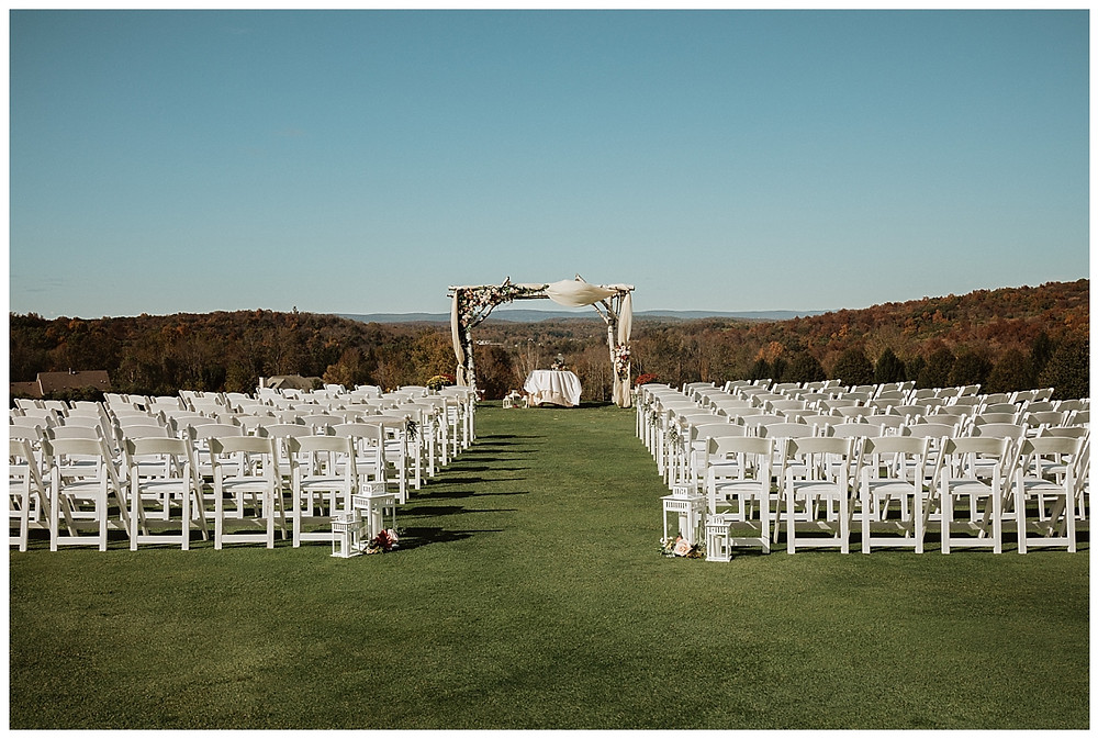 Outdoor Mountain Wedding Ceremony at SkyView Golf Club, Sparta NJ