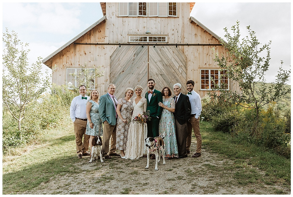 Family Formals in Front of Barn
