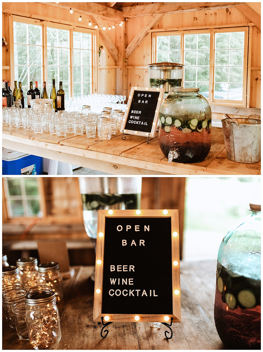 Barn Wedding Bar Setup