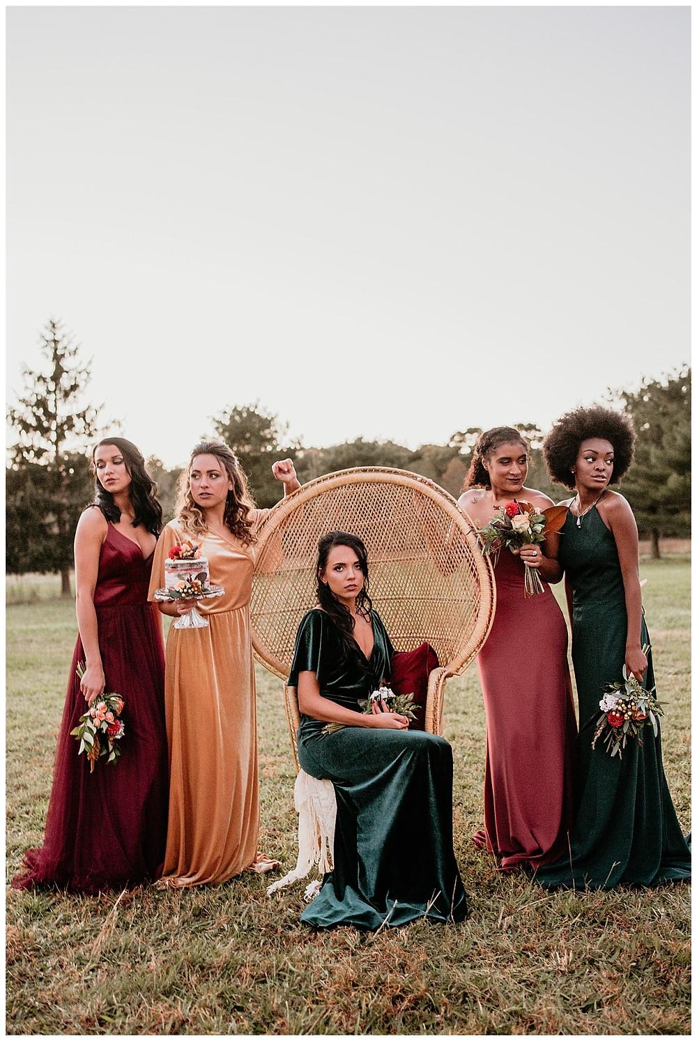 Boho Bridesmaids, Wicker Chair