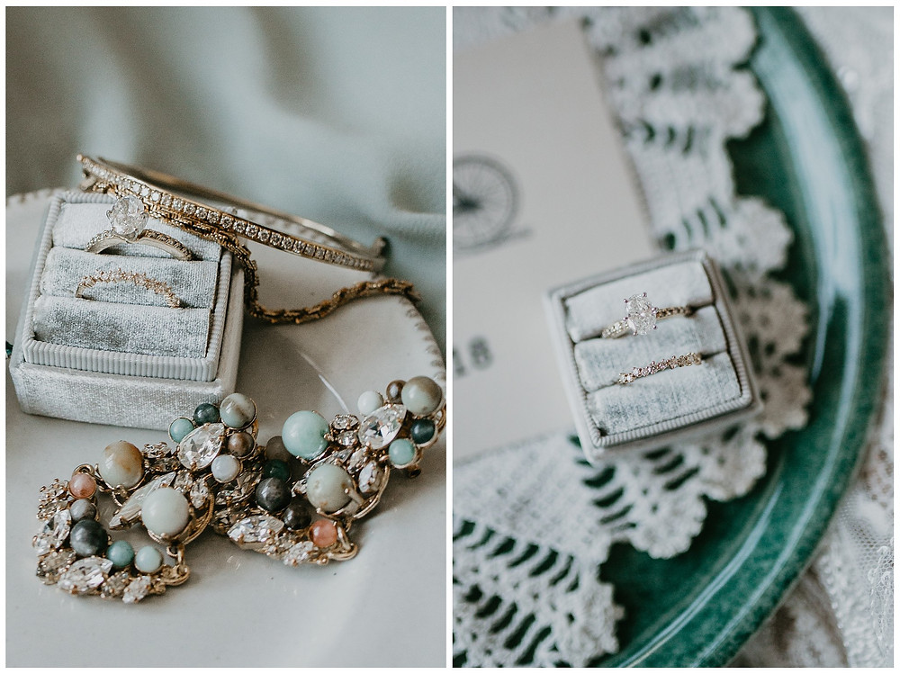 Vintage Nautical Blue Green Bridal Ring Jewelry Details