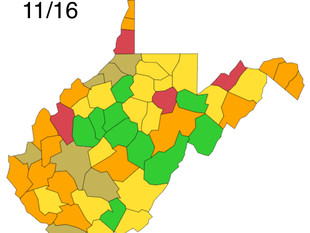 WV DHHR Color Map Represents Dramatic Rise in COVID Cases