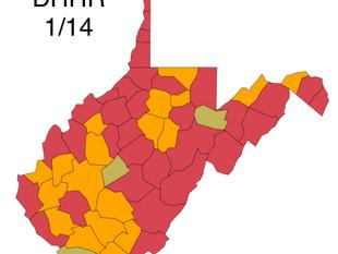 W.Va. DHHR County Alert Map for Thurs. Jan 14