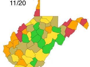 WV DHHR Color-Coded Map for Friday, November 20