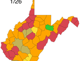W.Va. DHHR County Alert Map for Tues. Jan. 26