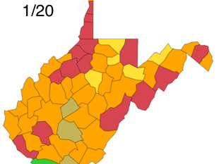 W.Va. DHHR County Alert Map for Wed. Jan 20th