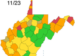 Coalfields Counties Yellow and Orange, According to WV DHHR Color Map