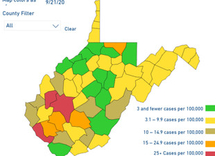 WV DHHR Updates Color-Coded Map