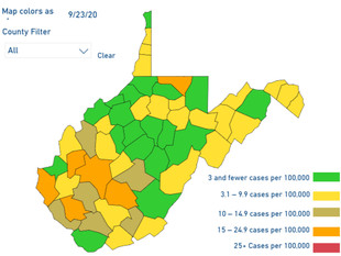 WV DHHR Updates Color-Coded Map for Thurs. Sept. 24