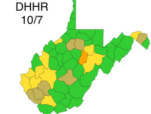 WV DHHR Color-Coded Map for Wednesday, October 7