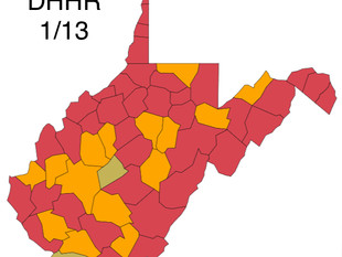 38 Counties Remain in the Restrictive Red Zone, W.Va. DHHR
