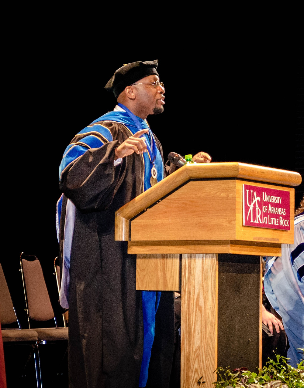 "Dr. Miller giving his ""last lecture"" speech at UA Little Rock in May, 2017."