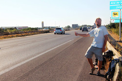 Kenny Flannery hitchhiking in France