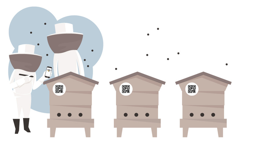 Beehives with QR code and 'Upstairs Downstiars Intrance'