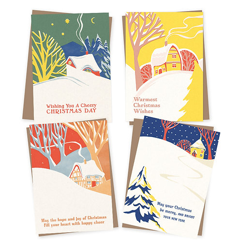 Vintage Snow Scenes Charity Christmas cards