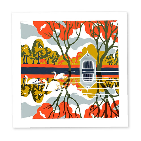Swans on the Thames print