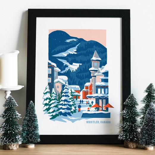 Whistler Village illustration framed