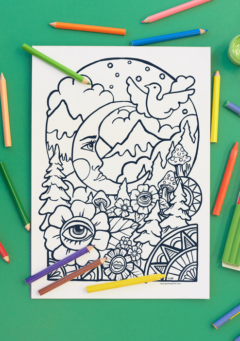 Moon Mountain Mushrooms colouring in
