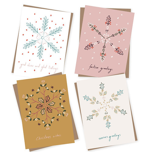 Leaf Snowflakes Charity Christmas cards