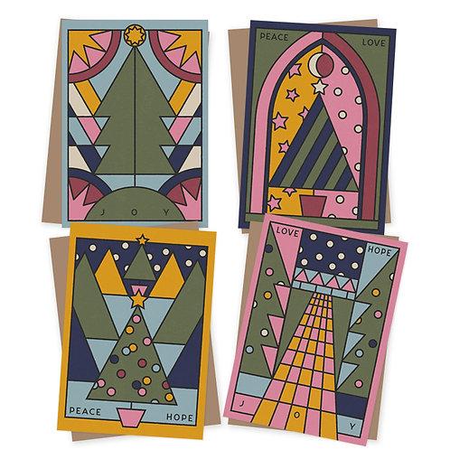 Peace Love Hope Joy Charity Christmas cards