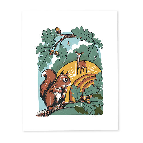 Squirrel and Friends print
