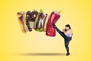 Picture of strong fat woman kicking soft