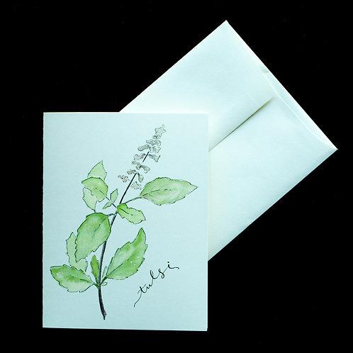 """Tulsi """"Holy Basil"""" Watercolor Notecard"""