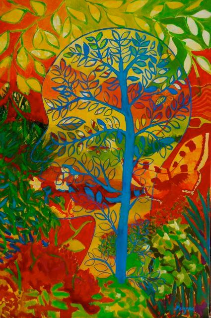 Tête à l'arbre bleu