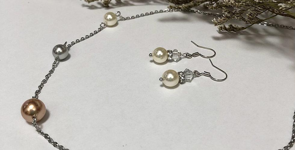 Swarovski Rose-gold Pearl Necklace set