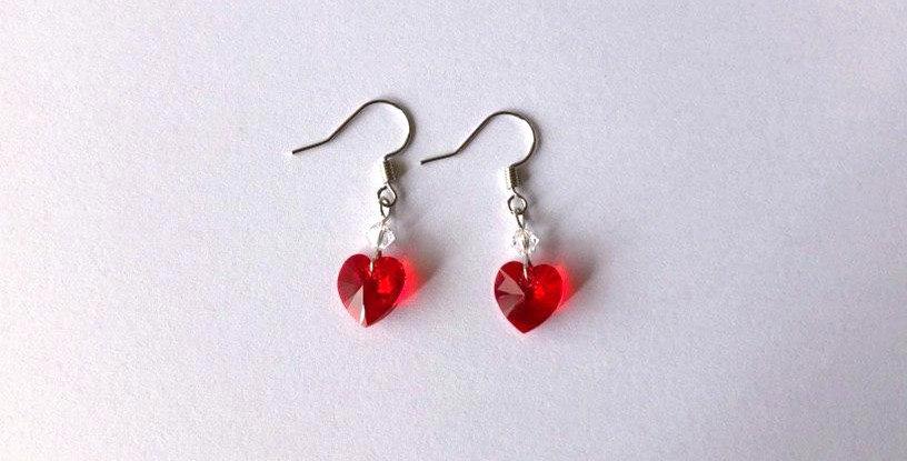 Swarovski Siam Red Heart Earrings
