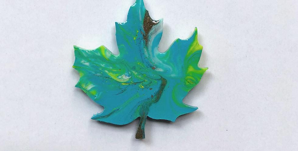 Maple leaf resin brooch