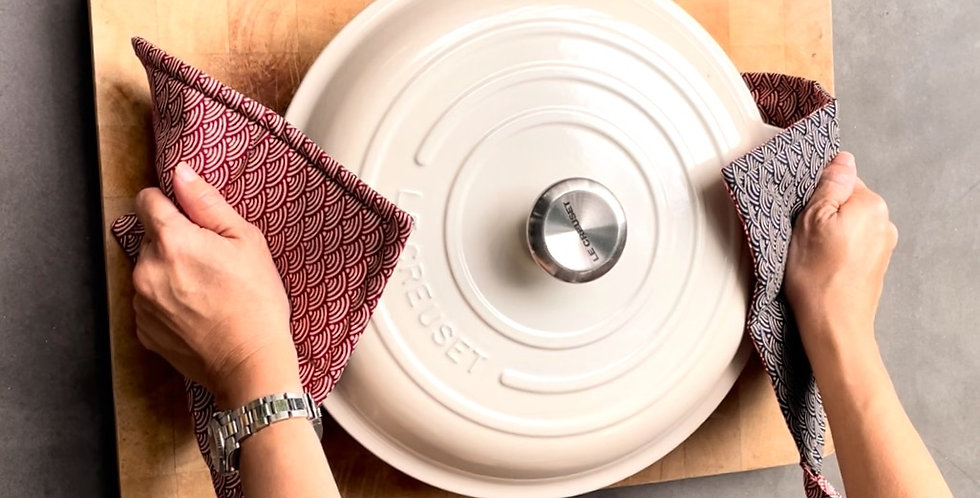 Duo-coloured Insulated Potholder (set of 2) with matching coasters