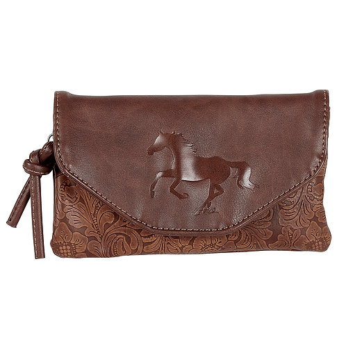 Lila©Western Tooled-Look Cross Body Bag/Wallet Combo