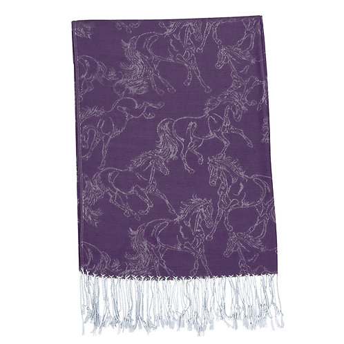 "GG1020DPUCS ""Lila"" Purple Linear Horse Pashmina PACK OF 10"