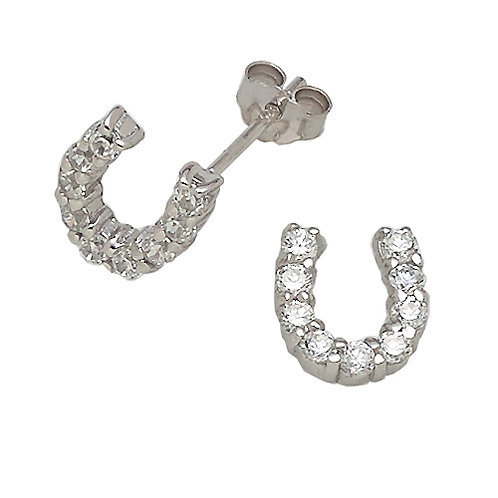 Crystal Sterling Silver Horseshoe Post Earrings
