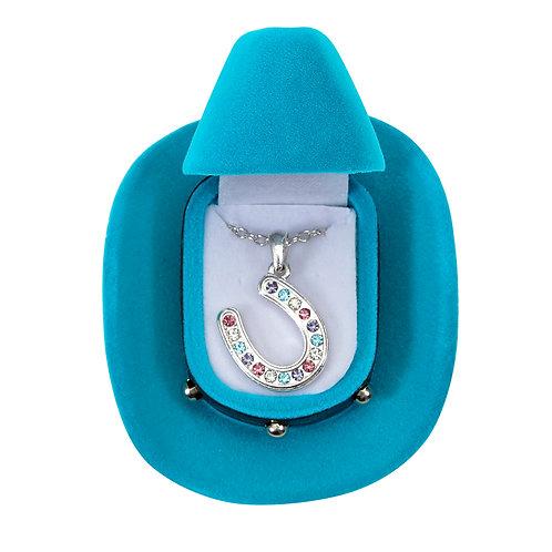 JN143MU Multi Colored Horseshoe Necklace